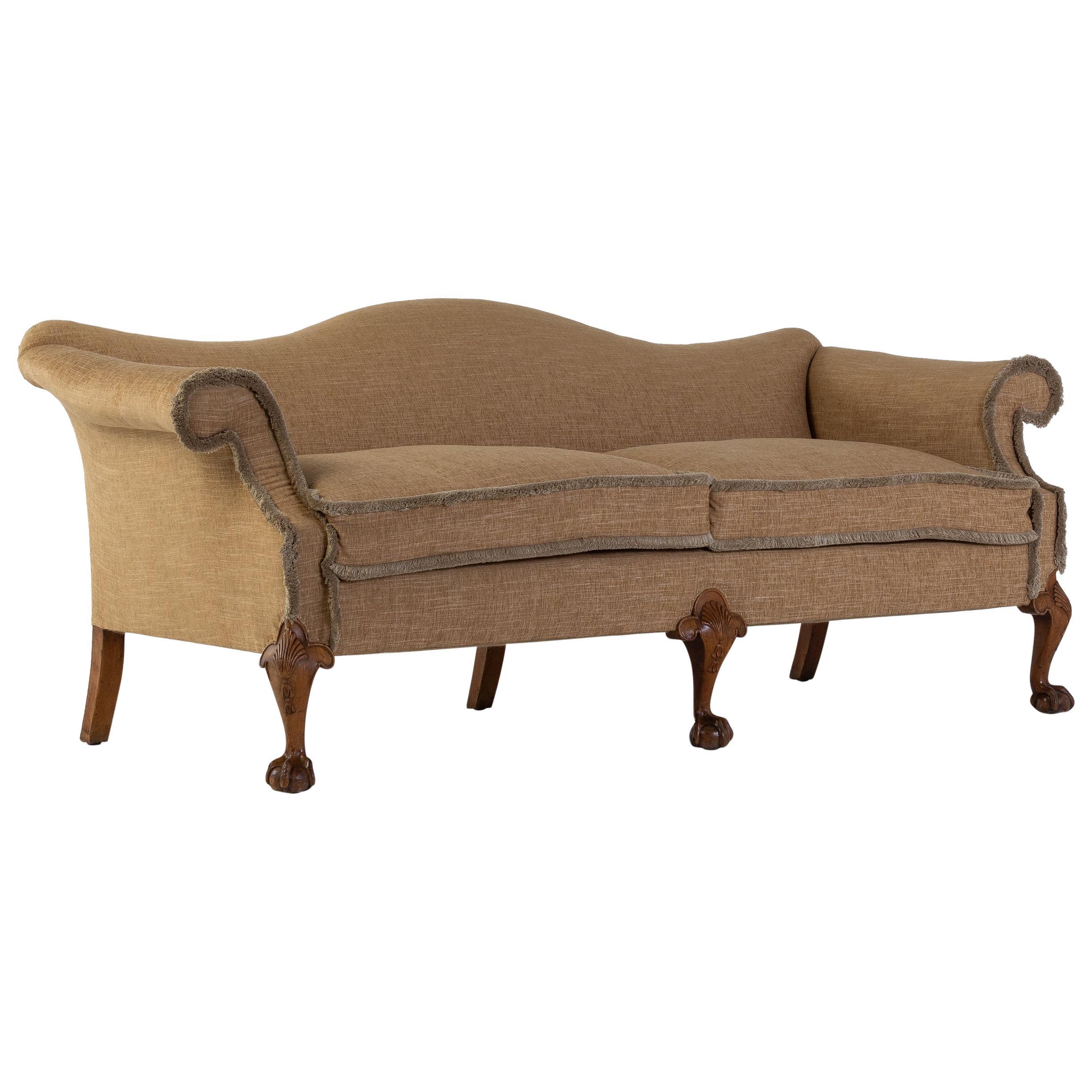 Large 19th Century Walnut Camel Back Sofa