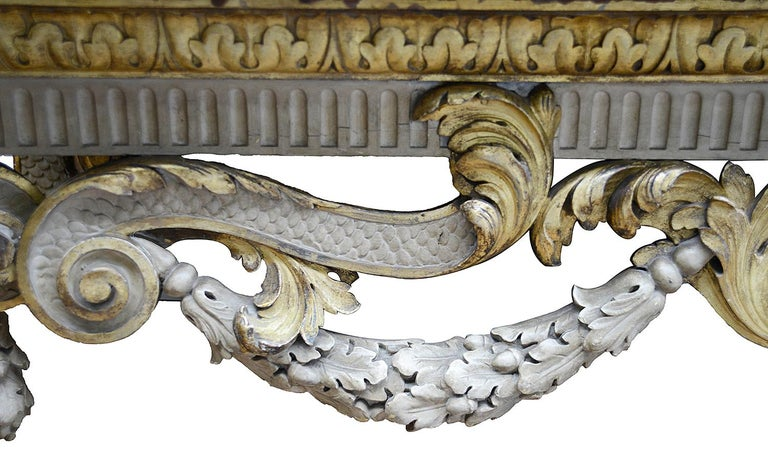 Hand-Carved Large 19th Century William Kent Style Console Table For Sale