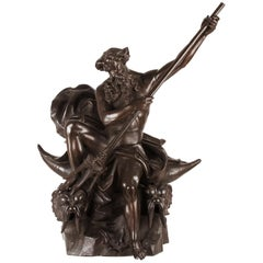 Large 19th Century Zamac Statue Depicting Neptune Sitting on Two Dolphins