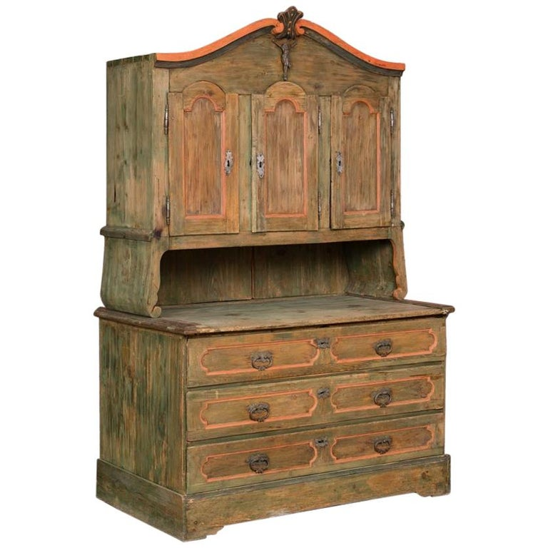 Painted Pine Kitchen Cabinets: Large 2-Piece Antique Green Painted Pine Cabinet Cupboard