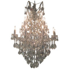 Large 20-Light Crystal French Style Chandelier with Glass Arms
