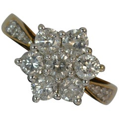 Large 2.00 Carat Diamond and 18 Carat Gold Daisy Cluster Ring