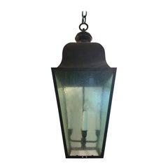 Large 20th Century Black Iron Four-Light Lantern with Tinted Glass