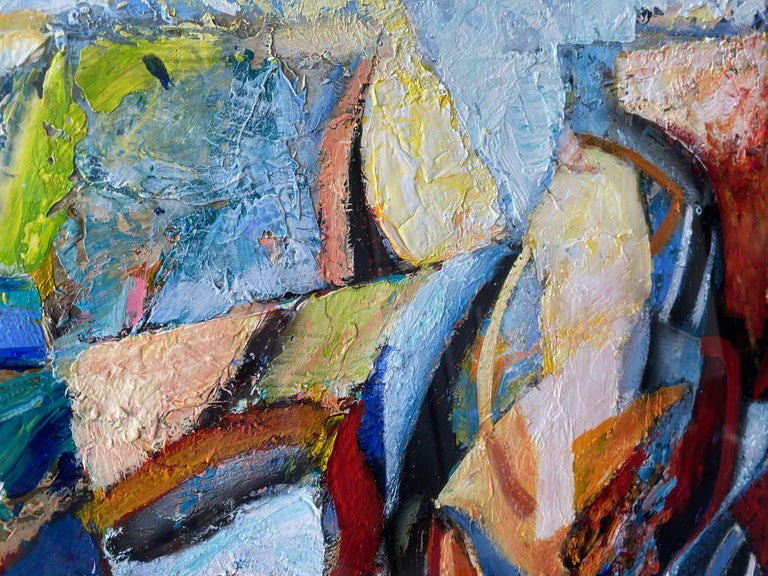 Large 20th Century Danish Abstract Painting in Blue Tones In Good Condition For Sale In London, London