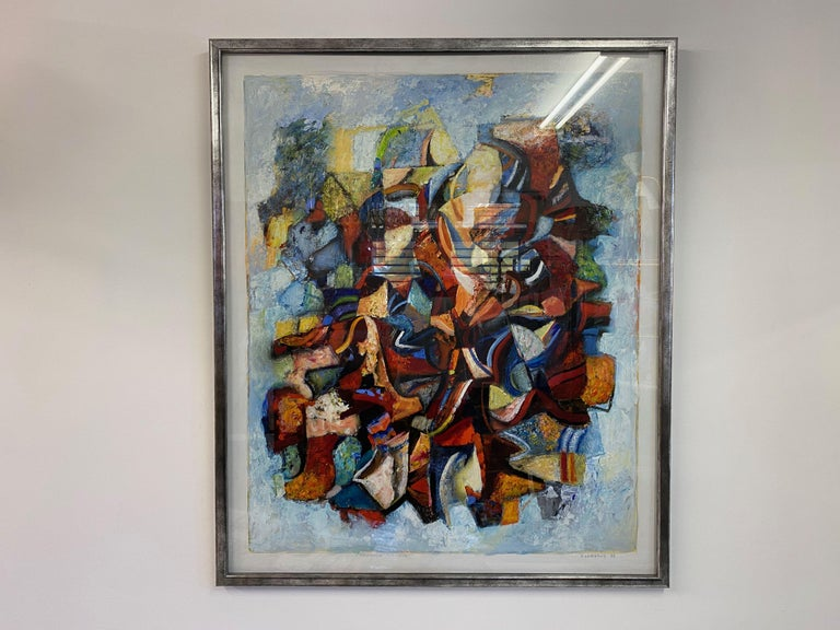 Large 20th Century Danish Abstract Painting in Blue Tones For Sale 1