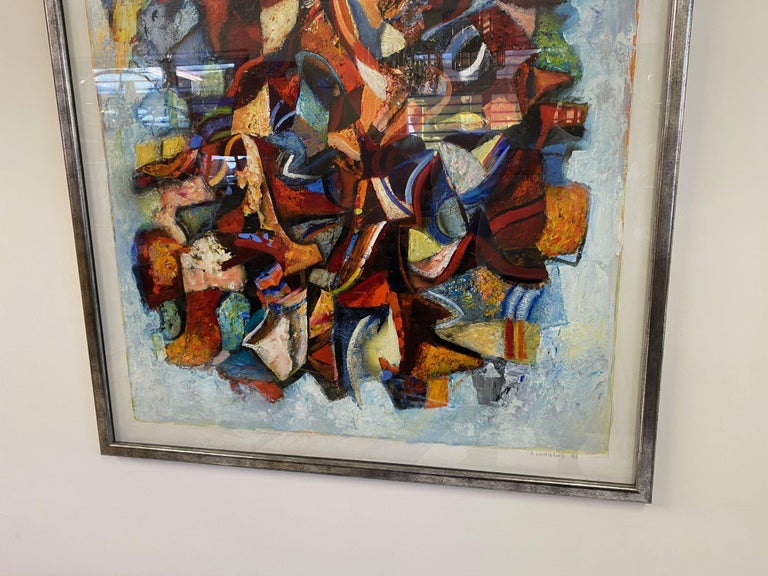 Large 20th Century Danish Abstract Painting in Blue Tones For Sale 2