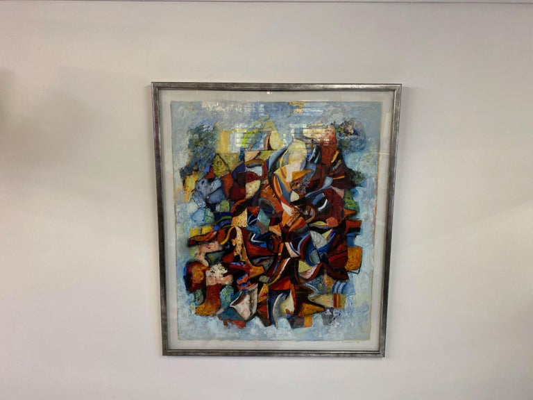 Large 20th Century Danish Abstract Painting in Blue Tones For Sale 3