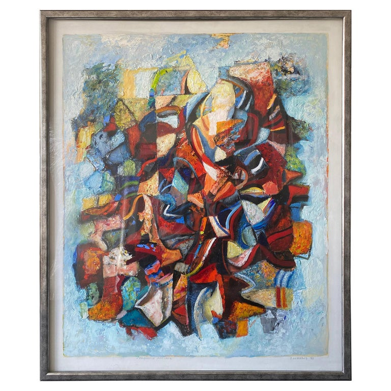 Large 20th Century Danish Abstract Painting in Blue Tones For Sale