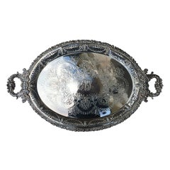 Large 20th Century English Silver Tray by Ellis-Barker, Marked