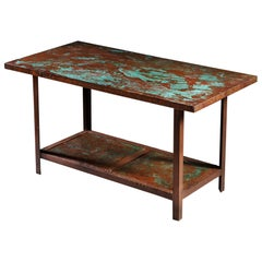 Large 20th Century French Copper Metal Table with Verdigris Patination