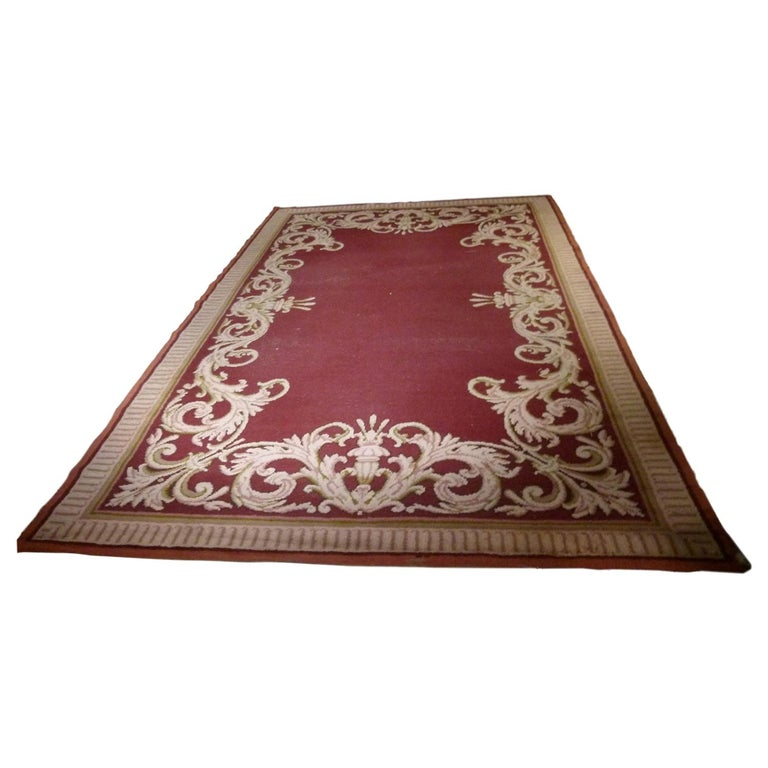 Large 20th Century Hand Knotted Wool Spanish Rug For Sale