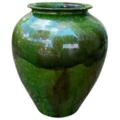 Large 20th Century Provincial Green Glazed Terracotta Pot / Planter, Marked