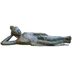 Large 20th Century Reclining Bronze Buddha