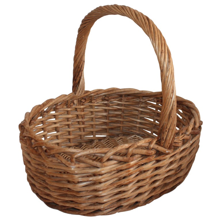 Large 20th Century Rustic Basket For Sale