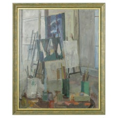 Large 20th Century Signed French Oil on Canvas Painting of Artist's Studio