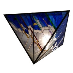 Large 20th Century Stained Glass Ceiling Light