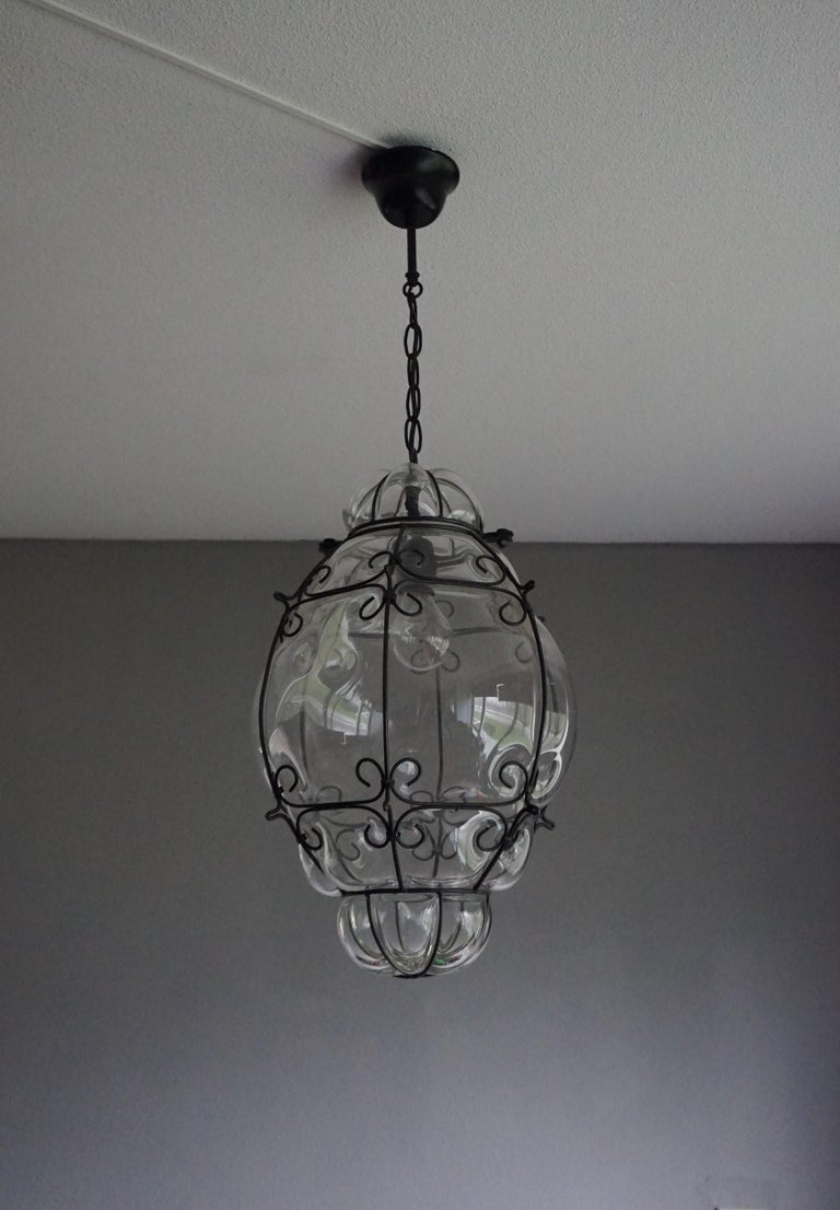 Modern Large 20th Century Venetian Mouth Blown Glass in Metal Frame Pendant Light For Sale