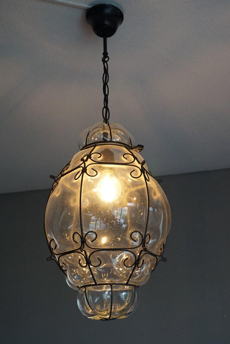 Large 20th Century Venetian Mouth Blown Glass in Metal Frame Pendant Light For Sale 2