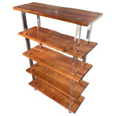 Large 20th Century Walnut and Acrylic Étagère or Bookcase