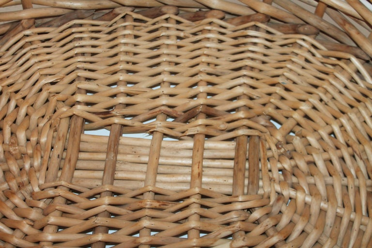 Mid-20th Century Large 20th Century Rustic Basket For Sale