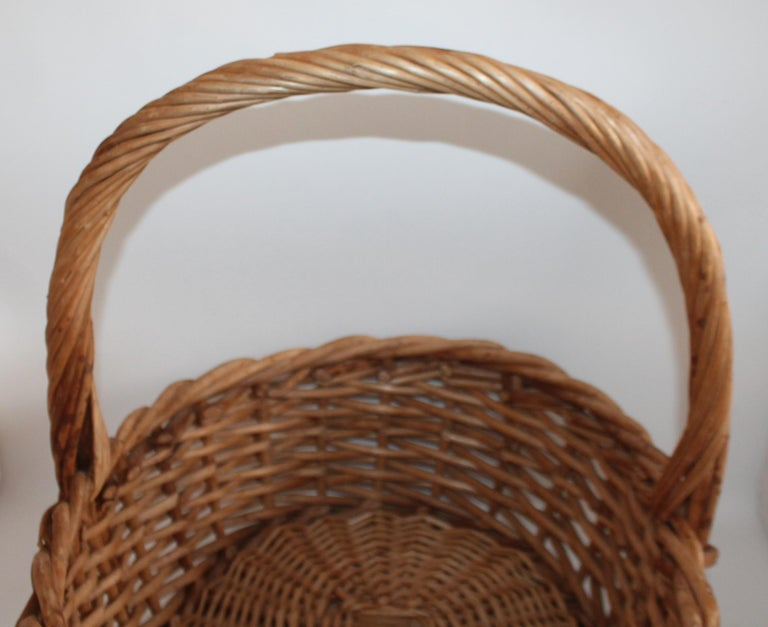Wood Large 20th Century Rustic Basket For Sale