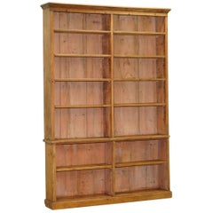 Large Tall Victorian Pine Library Bookcase with Height Adjustable Shelves