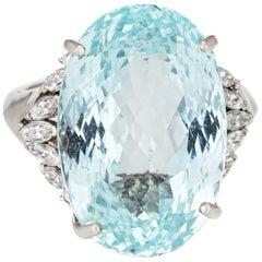 Large 21.75 Carat Aquamarine Diamond Ring Estate Platinum Oval Faceted Jewelry