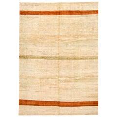 Contemporary Tan Gabbeh Handmade Wool Rug