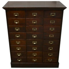 Large 24-Drawer Edwardian A4 Oak Filing Cabinet