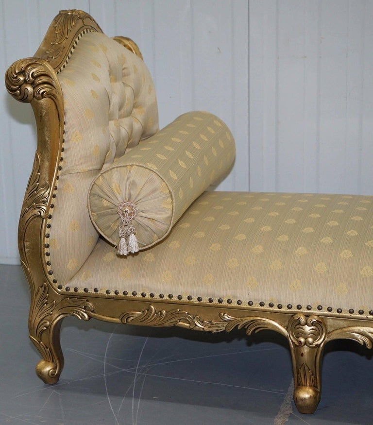 We are delighted to offer for sale this stunning Victorian style French gold leaf painted day bed / chaise lounge to seat three-four people  A very good looking comfortable piece, long enough for pretty much anyone to have a snooze on, the inside