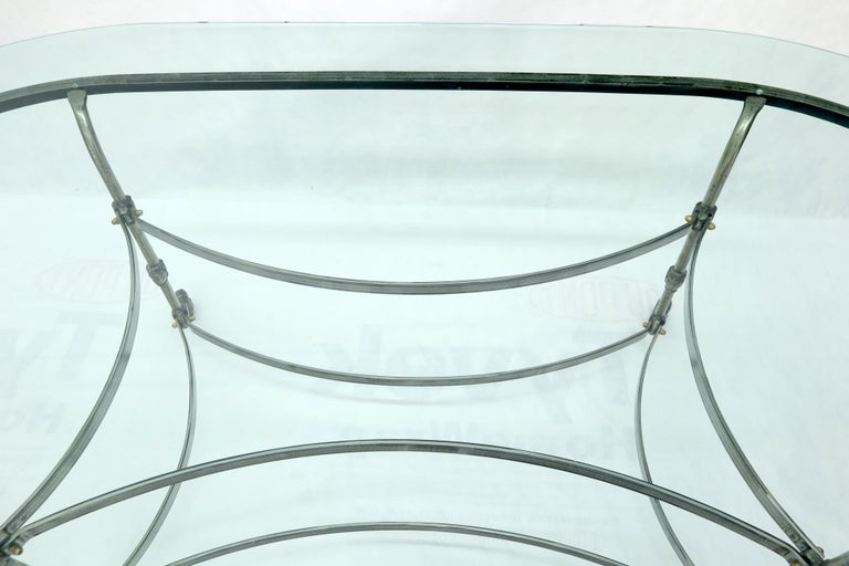 Large Glass Racetrack Oval Top Dining Table   For Sale 5