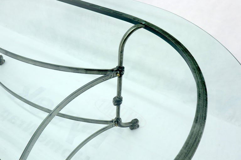 Large Glass Racetrack Oval Top Dining Table   For Sale 6