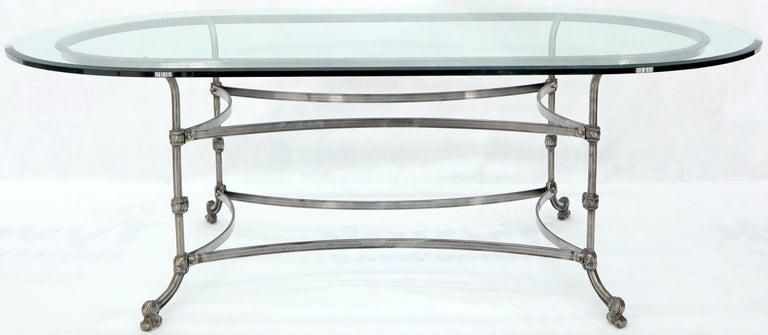Mid-Century Modern Large Glass Racetrack Oval Top Dining Table   For Sale