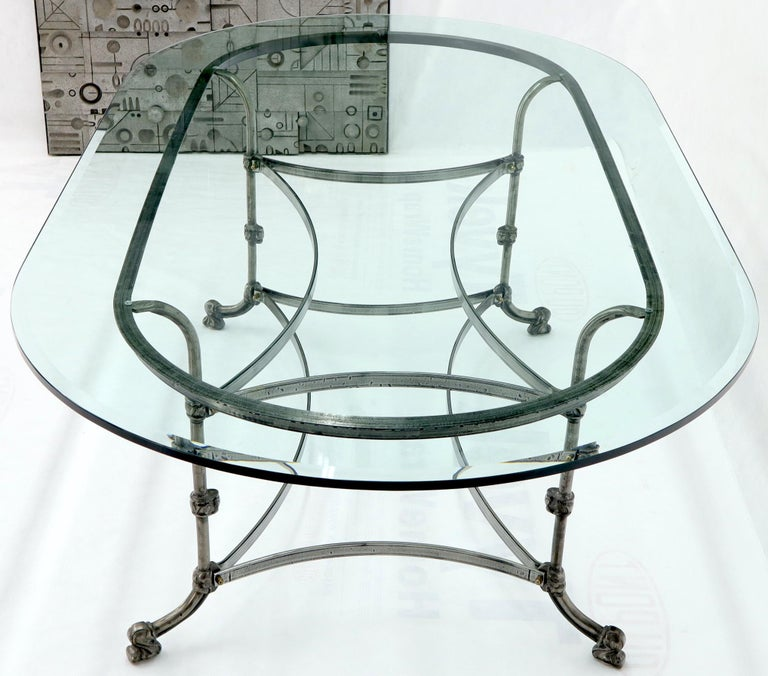 Unknown Large Glass Racetrack Oval Top Dining Table   For Sale