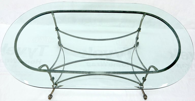 Large Glass Racetrack Oval Top Dining Table   In Excellent Condition For Sale In Rockaway, NJ