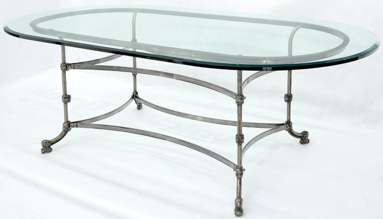 20th Century Large Glass Racetrack Oval Top Dining Table   For Sale