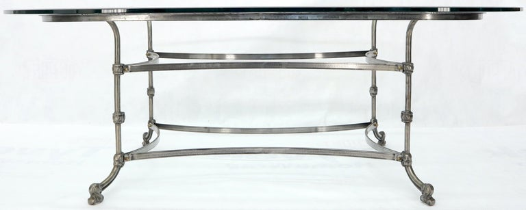 Large Glass Racetrack Oval Top Dining Table   For Sale 1