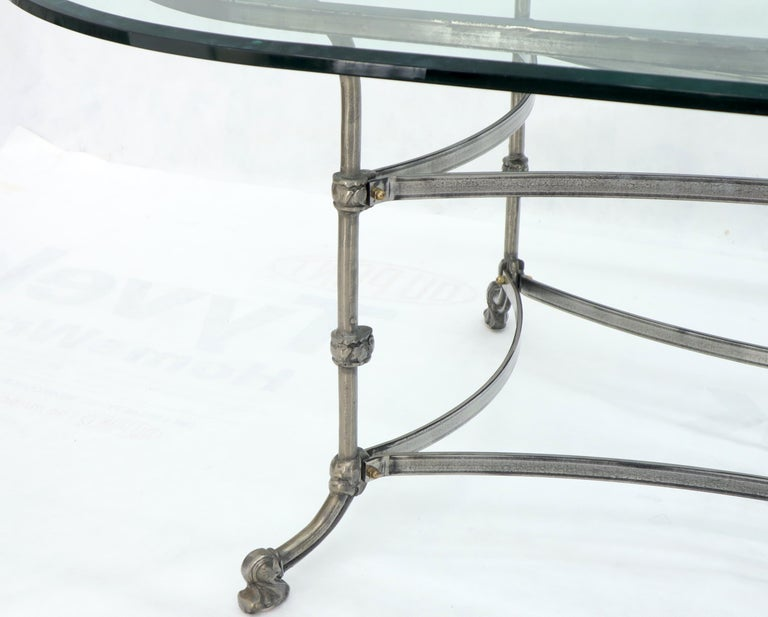 Large Glass Racetrack Oval Top Dining Table   For Sale 2