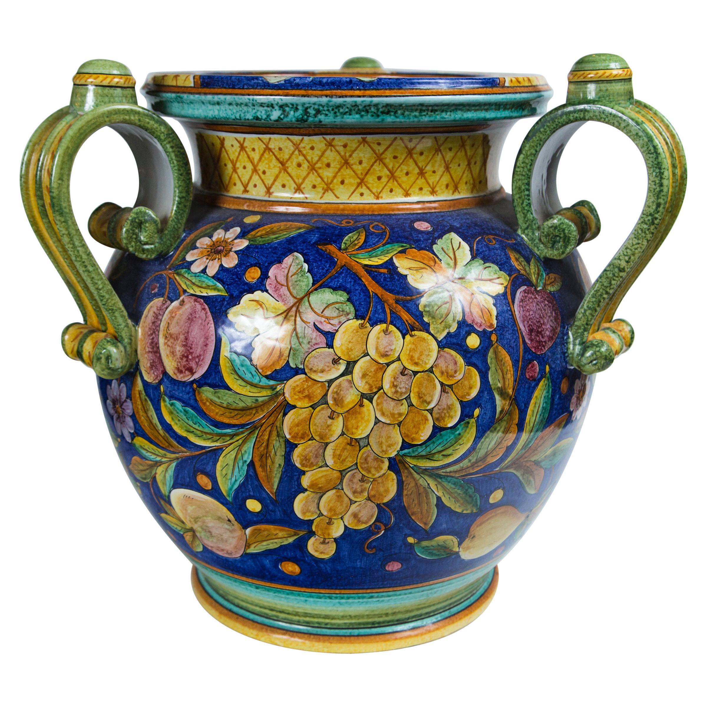 Large 3 Handle Majolica Jar