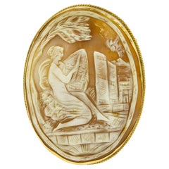 Large Neoclassical Shell Cameo of Woman Painting Gold Brooch Pendant