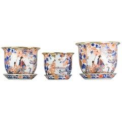 Large 3# Set 20th Century Imari Porcelain Planter Flowers Dame Au Parasol