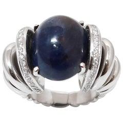 Large 31 Carat Cabochon Sapphire Diamonds 18 Karat White Gold Cocktail Ring