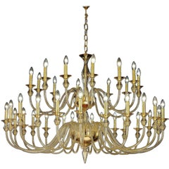 Large, 36-Arm, Clear Amber Murano /Venetian Glass Modern Neoclassical Chandelier