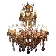 Large 36-Light Bronze Angel Cage Chandelier, 1930