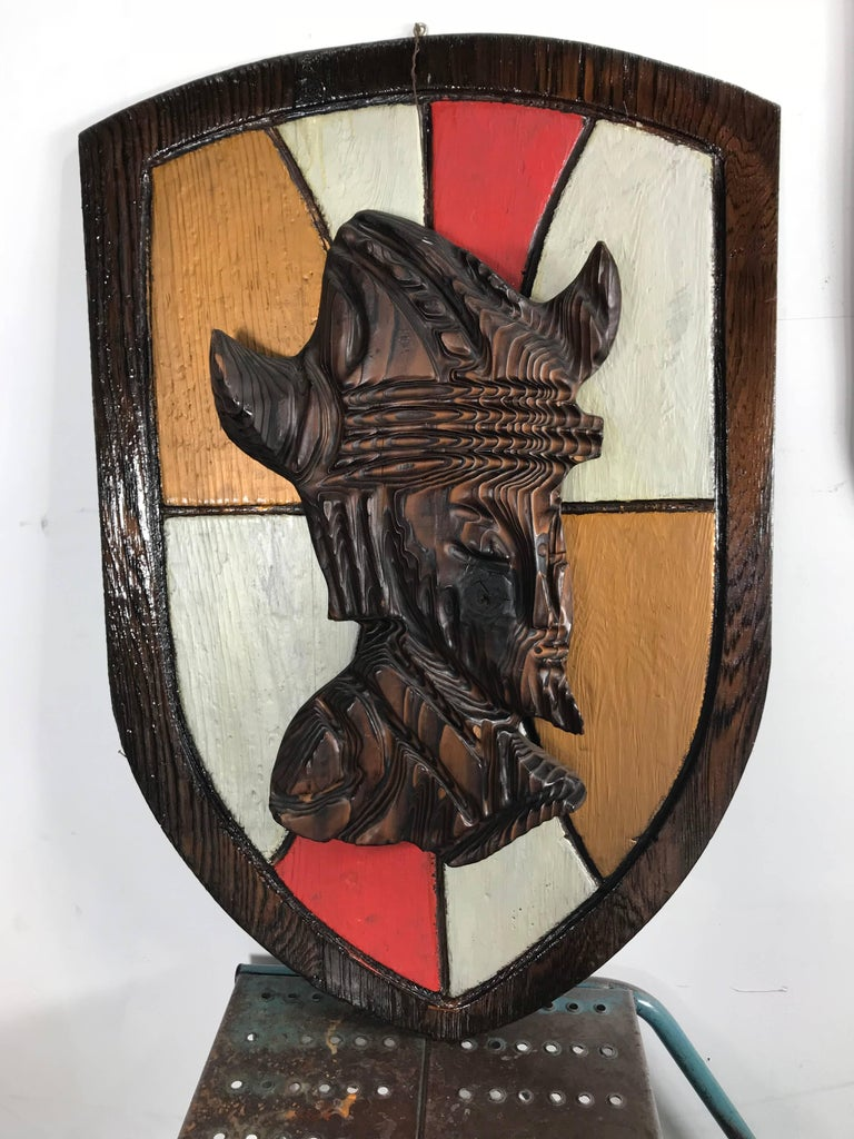 Large Witco, carved wood shield Gladiator and Viking wall plaques.