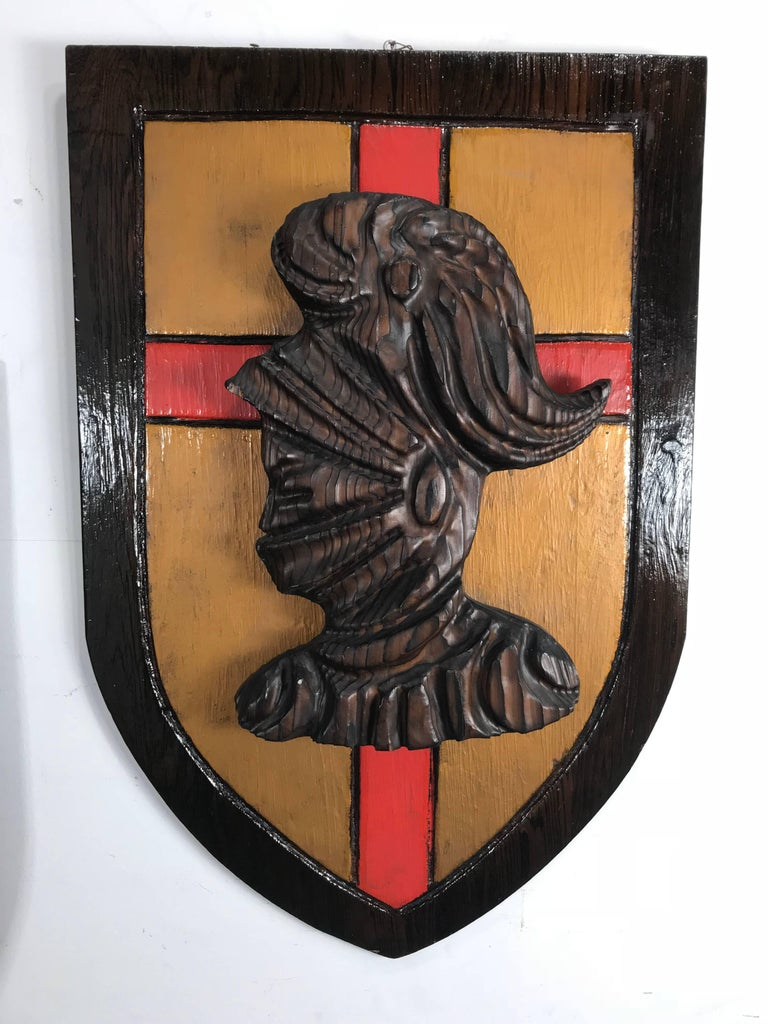 Mid-Century Modern Large Witco, Carved Wood Shield Gladiator and Viking Wall Plaques For Sale
