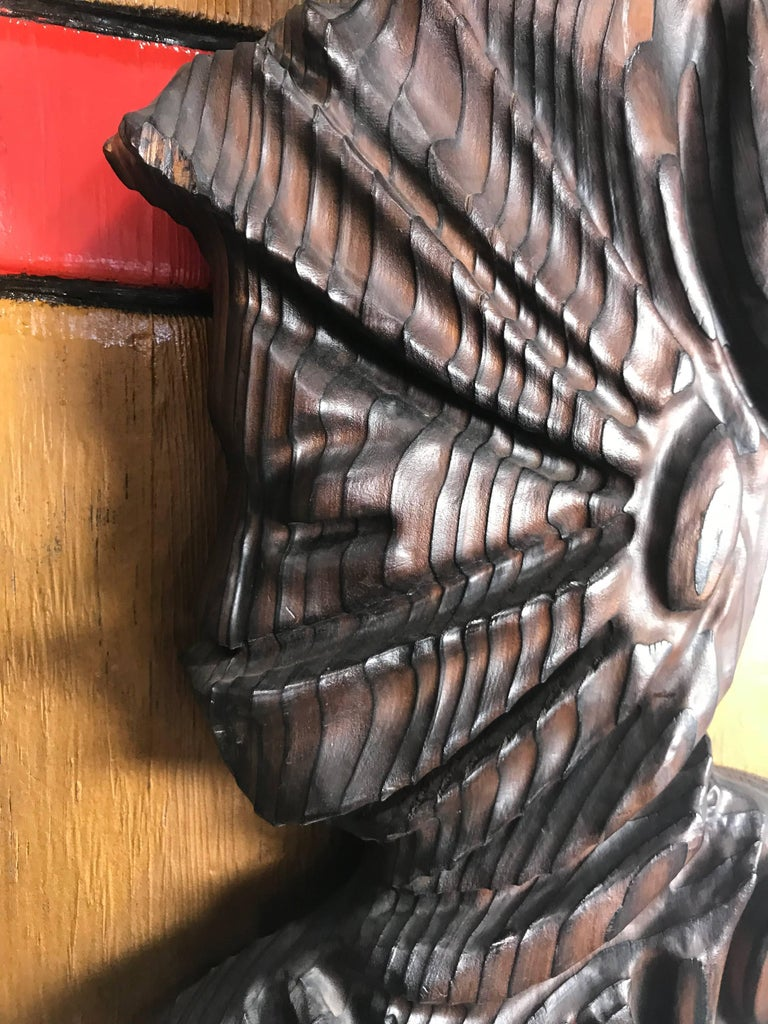 Large Witco, Carved Wood Shield Gladiator and Viking Wall Plaques In Good Condition For Sale In Buffalo, NY