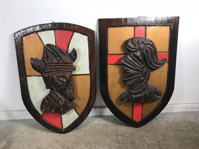 20th Century Large Witco, Carved Wood Shield Gladiator and Viking Wall Plaques For Sale