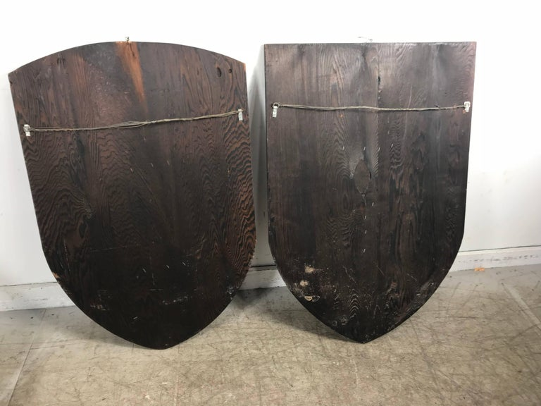 Large Witco, Carved Wood Shield Gladiator and Viking Wall Plaques For Sale 1