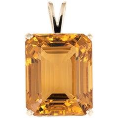 Large 37 Carat Citrine Pendant Vintage 14 Karat Gold Emerald Cut Estate Jewelry